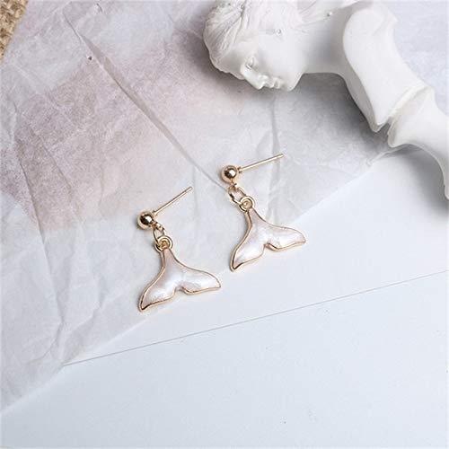 YangJinShan Pendientes Simple Linda Sirena Delfines Pendiente de la Cola de la Mujer (Color : 925 Silver Pin)