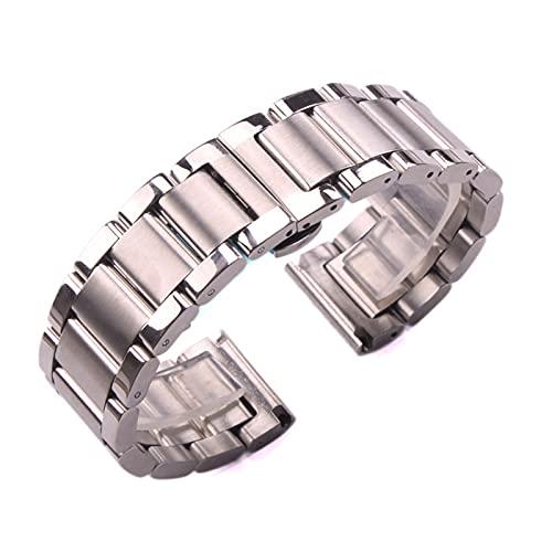 HANLILI kasu Sólido 316L Acero Inoxidable Reloj de Reloj de Plata 18 mm 20 mm 21 mm 22 mm 23 mm 24 mm Reloj de Reloj de Metal Correa Relojes de muñeca Pulsera