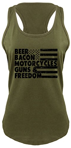 Comical Shirt Ladies Racerback Tank Beer Bacon Motorcycles Guns & Freedom Tee Gun Rights Military Green with Black Print XL
