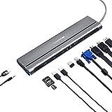 CANYON Hub USB C 14 in 1 - Docking Station Tipo C con Dual 4K HDMI, VGA, Ethernet, 2 porte USB 3.0, lettore di schede TF/SD – Adattatore universale USB C Multiport per MacBook