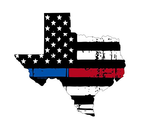 Texas Tattered Thin Blue-red line Flag Honoring Our Men & Women of Law Enforcement and Fire Fighters USA America car Symbol Sticker Decal die Cut Vinyl Window - Made and Shipped in USA