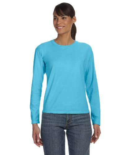 Comfort Colors Womens Ringspun Garment-Dyed Long-Sleeve T-Shirt (C3014)-Lagoon Blue,Small