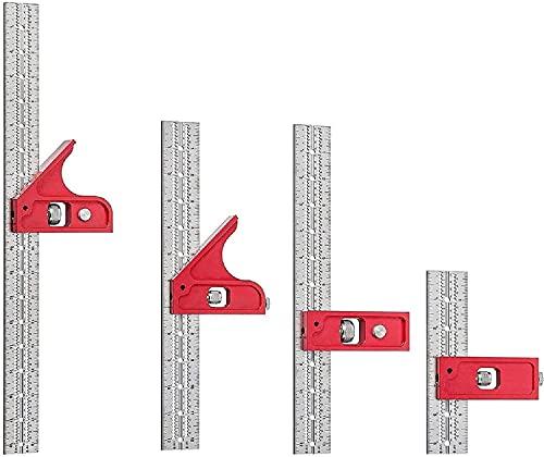 4 piezas de combinación y herramientas de carpintería de doble cuadrado, combinación de herramientas de pájaros carpinteros, cuadrados ajustables, regla de borde de carpintería