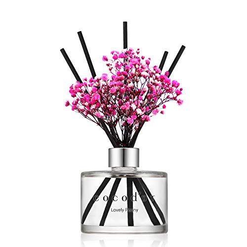Cocod'or Preserved Real Flower Reed Diffuser / Lovely Peony / 6.7oz(200ml) / 1 Pack / Reed Diffuser Set, Oil Diffuser & Reed Diffuser Sticks, Home Decor & Office