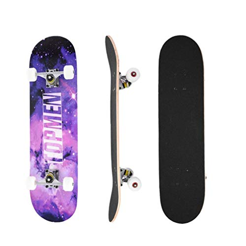 Yinguo Blank Skateboards for Beginners, 31inch Complete Skateboard for Kids Teens Adults Extreme Outdoor Sports, 8-level Maple Double Kick Deck Concave Standard Cruiser Trick Skate Board Longboard