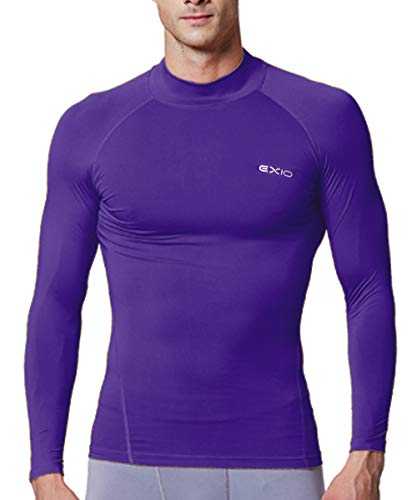 EXIO Japan Men's Mock Turtleneck Compression Shirt Cool&Dry Baselayer Top EX-T02 (Large, EXT02-PP)