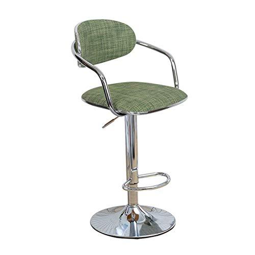 LLT Heces práctica Barstools 360 ° Giro Cocina Desayuno taburete bar Silla de oficina Mostrador Altura del asiento ajustable de ratán material de la carga máxima de 120 Kg,Verde,60~80cm