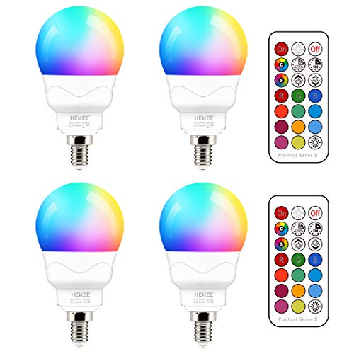 E12 LED Light Bulbs (40w Equivalent) 5W, Color Changing RGB, A15 Small Base Candelabra Round Light Bulb, Candle Base, 2700K Warm White 12 Colors 2 Modes Timing with Remote Control (4 Pack)