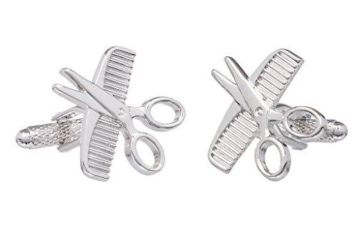Onyx Art Boutons de manchette:les ciseaux et le peigne de coiffeur