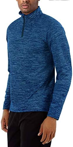 TACVASEN Men's Sports Shirts 1/4 Zip Long Sleeve Fleece Lined Running Workout Pullover Tops Sweatshirt
