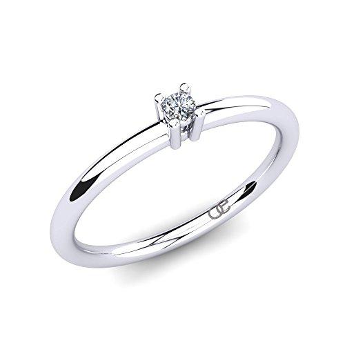 Moncoeur Anillo de Diamantes Esmeraude + Anillo de Diamantes Solitario 375 Oro Blanco con Diamantes 0.028 CT con w/vs Propuesta Matrimonio + Anillo de Compromiso