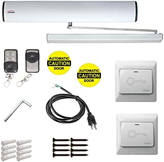 Visionis VIS-7336 Automatic Door Opener Electric + Closer for 440lb Inswing Doors + Built-in Receiver + 2 Wireless Remotes + 2 VIS-7030 Hardwire White Exit Buttons