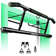 MASSAPOW Pull Up Bar for Doorway, No Screws Pull Up Bar, Angled Grip Chin Up Bar Home Gym Fitness Equipment, Bonus Resistance Band