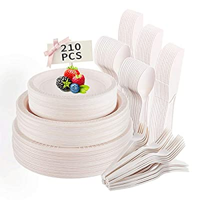 210 Pieces Disposable Plates, Biodegradable Compostable Cornstarch Dinner Tableware Set with Plates Knives Forks Spoons