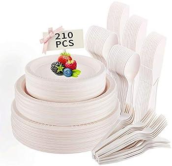 210-Pieces Disposable Biodegradable Compostable Tableware Set