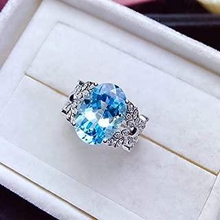Blue Topaz Ring, November Birthstone, Sterling Silver Rings for Women, Engagement Cocktail Wedding Ring, Handmade Art Deco Aesthetic