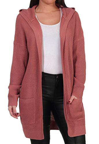 VERO MODA Damen Grobstrick-Cardigan VMLeanna Hood Jacke mit Kapuze 10240540 Old Rose M