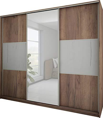 FurnitureByJDM - Moderne garderobekast 3 schuifdeuren - RICO - met spiegel. Breedte: 240cm Hoogte: 216cm Diepte: 65cm - (Ambacht Tabak - Ambacht Wit)