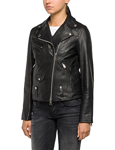 Replay Damen Lederjacke Echtleder Jacke W7292A.000.82926L, Gr. Medium, Schwarz (Black 10)