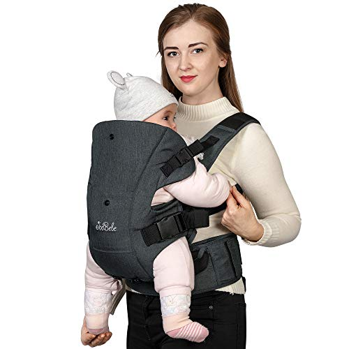 JooBebe 4 in 1 Front Back Baby Carrier/Ergonomic Hands-Free Infant Holder/Adjustable Head Support Kids Sling Wrap/Child Convertible Carrier Backpacks with 2 Pockets for Newborn Toddler 8-33lbs