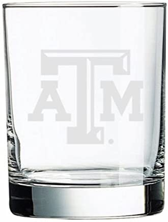 Texas A&M Aggies Deep Etched Double Old Fashion Glass