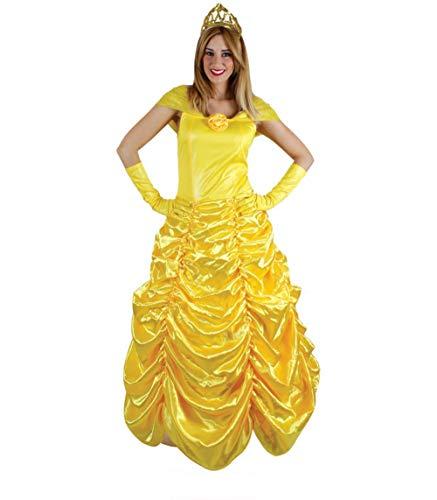 Disfraz de Princesa Belle Vestido Amarillo Largo Mujer con Tiara Fuera del Hombro para Fiesta de Carnaval Cosplay Cumpleaños (PZ9033, L)