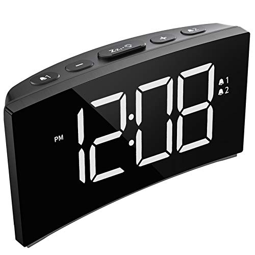 PICTEK Digital Alarm Clocks Bedside Mains Powered, LED Clock with 5' Curved Screen, 6 Brightness Dimmer, Big White Digital Display, Snooze, Optional Alarm Sounds and Volume (Adapter not Included)