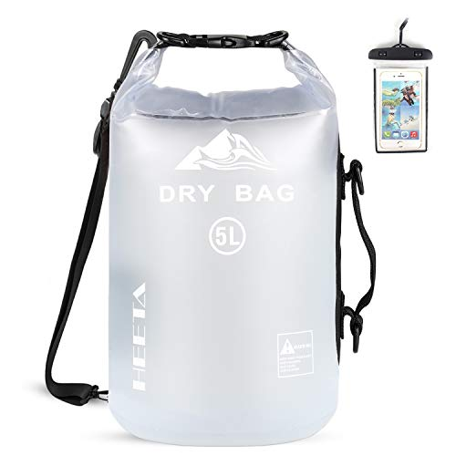 HEETA Waterproof Dry Bag for Women Men, Roll Top Lightweight Dry Storage Bag Backpack with Phone Case for Travel, Swimming, Boating, Kayaking, Camping and Beach, Transparent White 20L