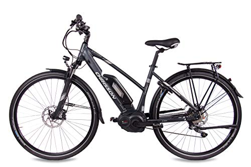 412FBLNkzCL - CHRISSON 28 Zoll Damen Trekking- und City-E-Bike - E-Actourus anthrazit matt - Elektro Fahrrad Damen - 10 Gang Shimano Deore Schaltung - Pedelec mit Bosch Mittelmotor Performance Line 250W, 63Nm