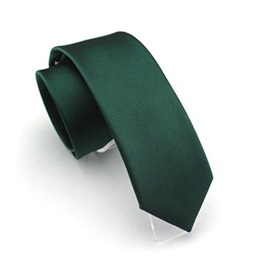 Elviros Mens Eco-friendly Fashion Solid Color Slim Tie 2.4'' (6cm) Emerald