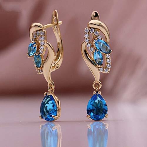 CHQSMZ Pendiente Nuevas Mujeres Pendientes Largos 585 Oro Rosa Gota de Agua Pendiente de circonita Natural Azul Oscuro Ojo de Caballo joyería de Moda de Lujo