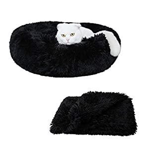 Patas Lague 2-Piece Donut Calming Dog Bed Set (1 Bed, 1 Blanket), Faux Fur Plush Cat Pet Bed, Comfortable and Washable, (24 inches,Black)