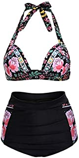BEESCLOVER Women's Halter Geometric Print High Waisted Swimsuit Bathing Suits Bikini