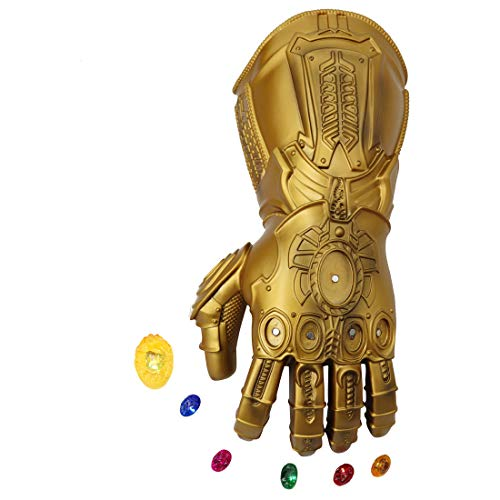 Bulex Iron Man Infinity Gauntlet for Adult with Removable Magnet Infinity Gem Stones Electronic Fist Halloween Cosplay Props (Gold Adult Size)
