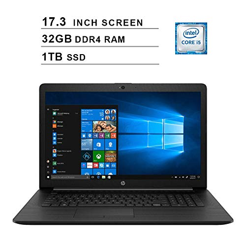 2020 Newest HP Pavilion 17.3 Inch Laptop (Intel Quad-Core i5-8265U up to 3.9 GHz, 32GB DDR4 RAM, 1TB SSD, Intel UHD 620, WiFi, Bluetooth, HDMI, Webcam, DVD, Windows 10) (Black)