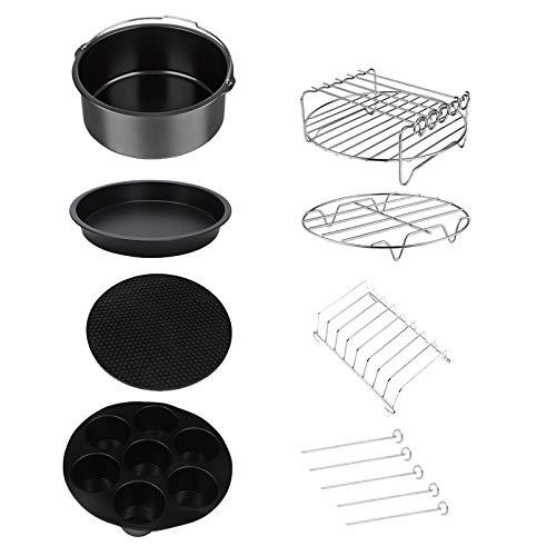 Varadyle Juego de 12 accesorios para freidora de aire de 9 pulgadas para freidora Airfryer de 5,3 a 6,8 QT, cesta para hornear, bandeja de pizza y utensilios de cocina