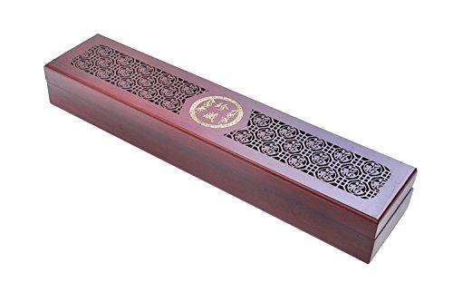 Quantum Abacus Deluxe: Set di bacchette in elegante confezione in legno, bacchette in legno di sandalo rosso con decorazioni in metallo, motivo: prosperità, portabacchette, custodia in legno, HB-S2-M02