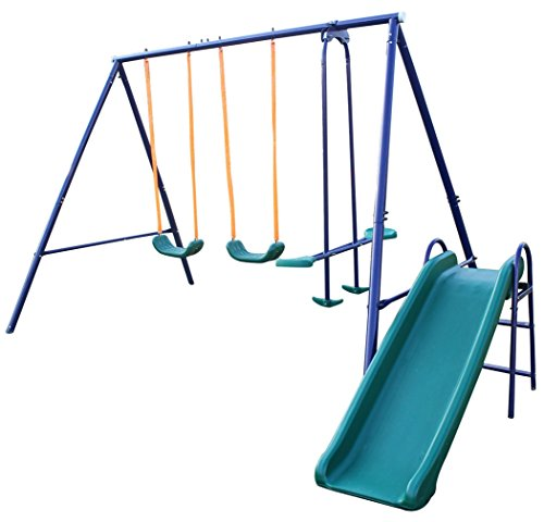 KL KLB Sport Metal Swing Set Outdoor Backyard Playground Heavy Duty Swing Set 2 Seats with Glider and Slide for Kids, Toddlers, Children, Max Weight 500 LBS, 100 LBS Each
