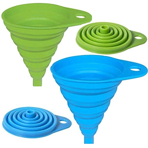 AxeSickle Silicone Collapsible Funnel 2 Pcs Folding Funnel, Blue Green.