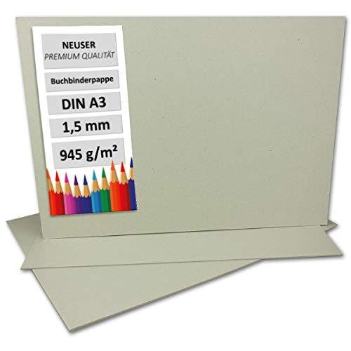 Cartón de encuadernación de 1,5 mm - Cartón extremadamente resistente, color DIN A3 gris y...