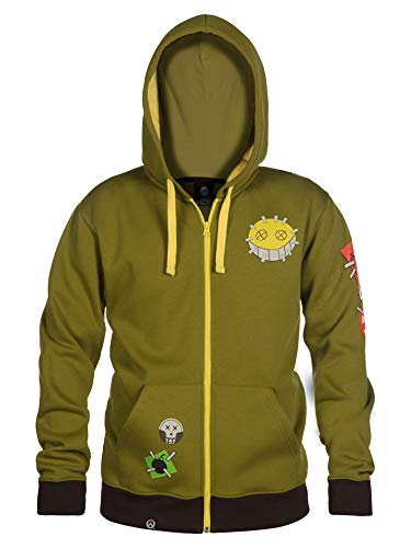 JINX Overwatch Ultimate Junkrat Zip-Up Hoodie, Military Green, X-Small