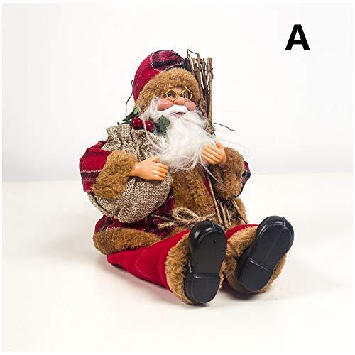 LAOOWANG Weihnachtsmann-Puppe, Weihnachtsmann-sitzendes Puppen-Gewebe-Weihnachtspuppe-Kindergeschenk-Spielzeug