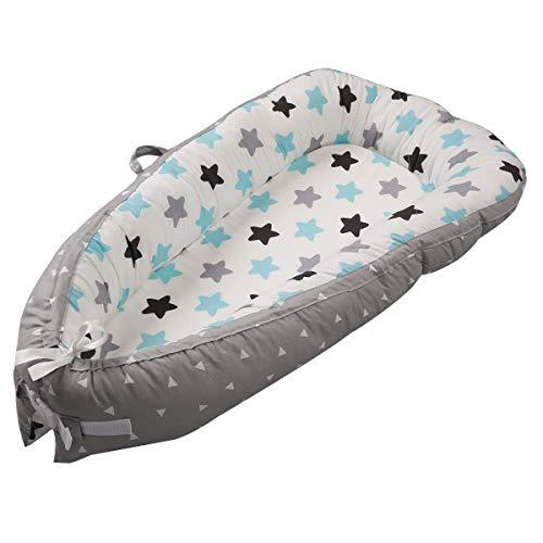 Baby Nest Nido bebé Reductor De Cuna Reversible Capullo Multifuncional de Babymajawelt (star gray)