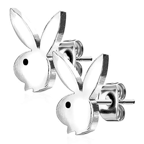 Forbidden Body Jewelry Surgical Steel Playboy Bunny Stud Earrings (Silver Tone)