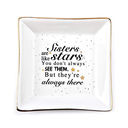 JIAYIQI Friend Gifts for Women Ceramic Trinket Dish Jewelry for Sisters Birthday Gift- Sisters are Like Stars, You Don