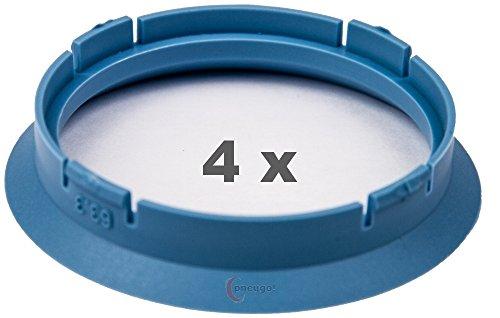 4 x Zentrierringe 63.3 mm auf 56.6 mm hellblau/lightblue