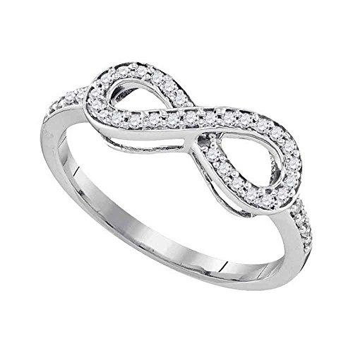 10kt oro blanco para mujer ronda pave-Set Diamante Infinito Anillo 1/5quilates = 0,2quilates (I2-I3claridad; I-J Color)