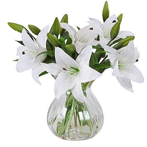 MEIWO Flores Artificiales, 5 Pcs Real Toque Látex Artificial Lillies Flores en Floreros Decoración de Boda/Decoración para el hogar/Parte/Graves Arreglo(Blanco)