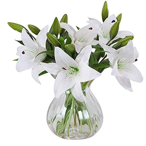 MEIWO Flores Artificiales, 5 Pcs Real Toque Látex Artificial Lillies Flores en Floreros Decoración de Boda/Decoración para el hogar/Parte/Graves Arreglo(Blanco)