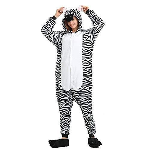 JXILY Pijama de Animales Pijama de una Pieza de Franela Cebra Cosplay o Pijama, Adecuado para Exteriores, con Capucha, para Adultos, para Dormir, Disfraz,Zebra,L